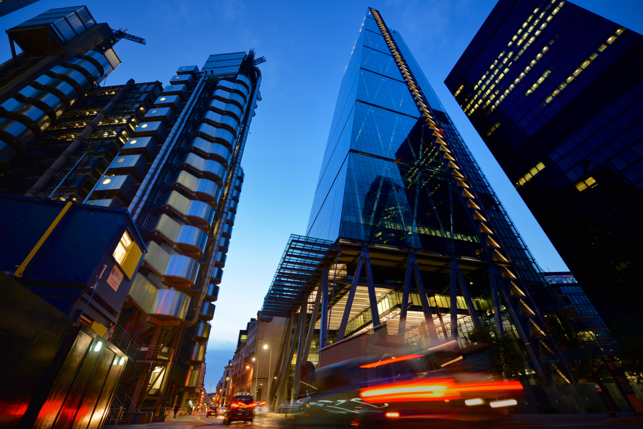 City of London low angle view at night